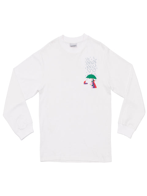 Fingers In The Rain LS White T-Shirt