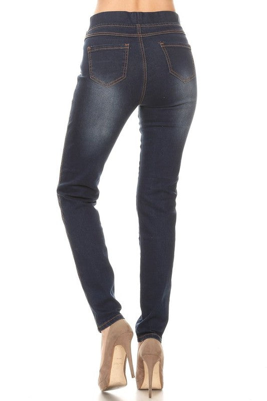 Dark Denim Distressed Jeggings - Women's