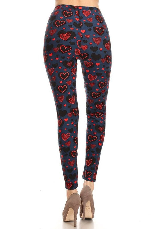 Red, Blue and I Love You - Women's 3X/5X Plus Size Leggings