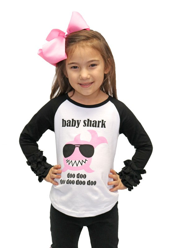 Baby Shark Girls Raglan Top - Apple Girl Boutique