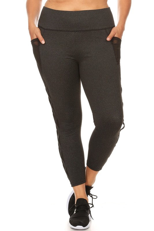 Women's Athletic Leggings with Mesh and Cross Cutouts - Plus Size in Charcoal