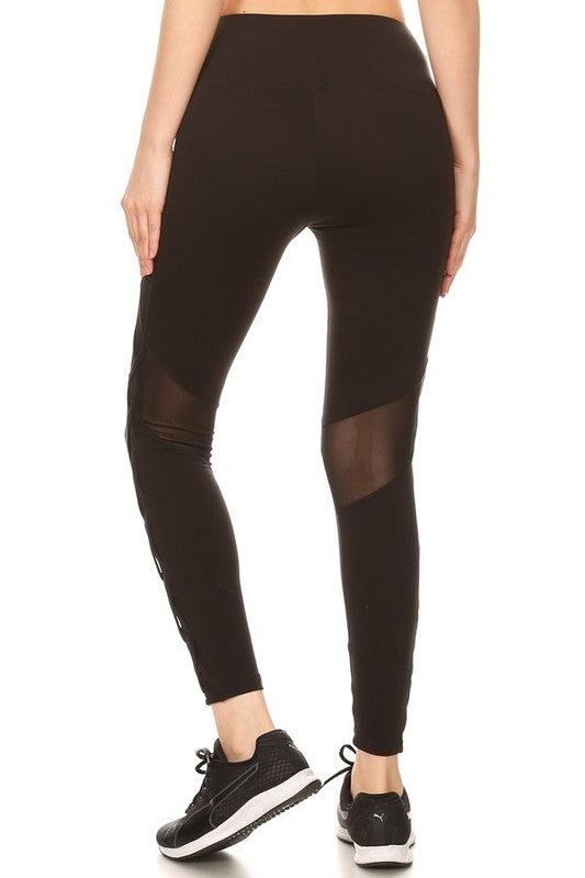 Women's Athletic Leggings with Mesh and Cross Cutouts in Black