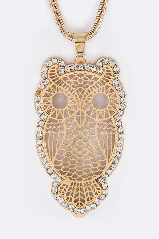 Gold Owl Necklace with Wide Style Chain - Apple Girl Boutique