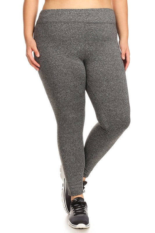 Women's Solid Fleece Sports Plus Size Leggings in Heathered Gray