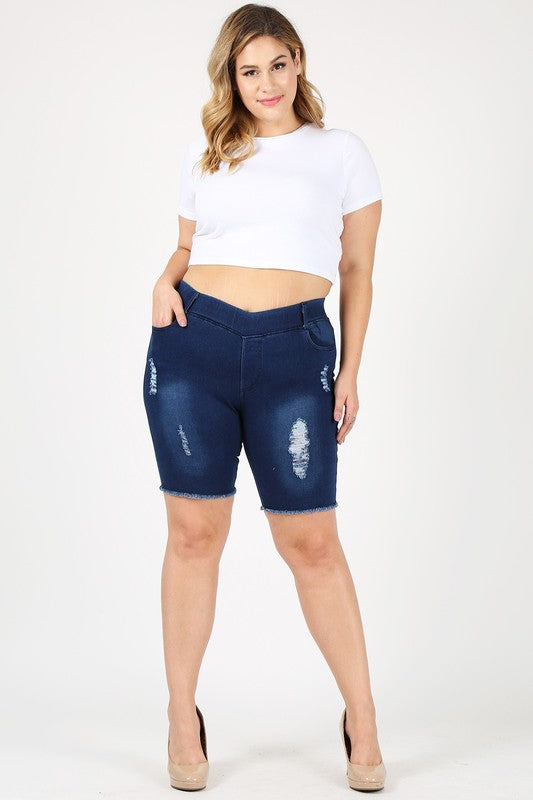 Ripped Dark Denim Short Jeggings - Women's Plus Size