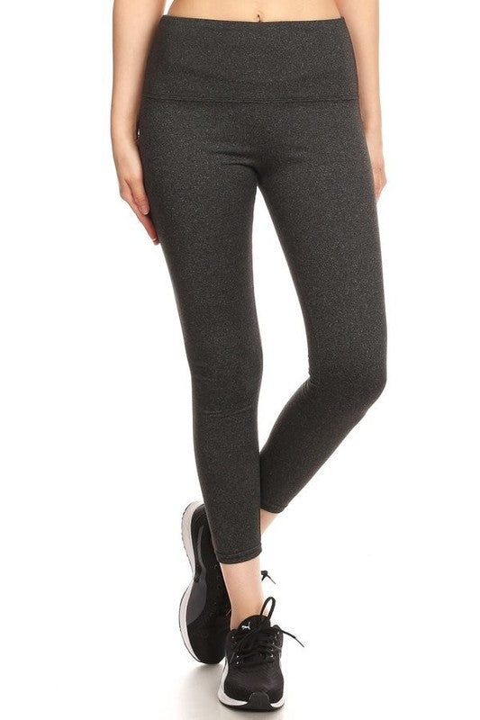 Women's Solid Fleece Sports Leggings in Heathered Charcoal