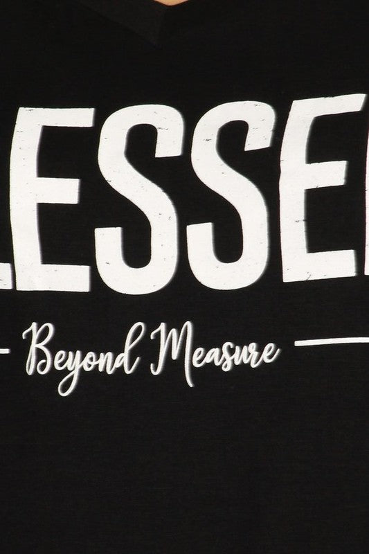 Blessed Beyond Measure - Women's Plus Size Knotted Top in Black