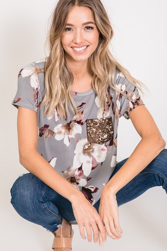 The Autumn - Women's Gray Floral Top