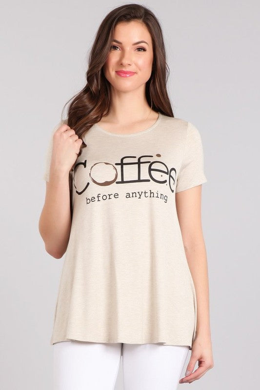 Coffee Before Anything - Women's Tunic Top in Heathered Oatmeal