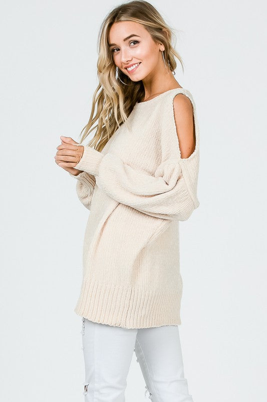 The Sherry - Women's Chenille Cold Shoulder Sweater in Cream