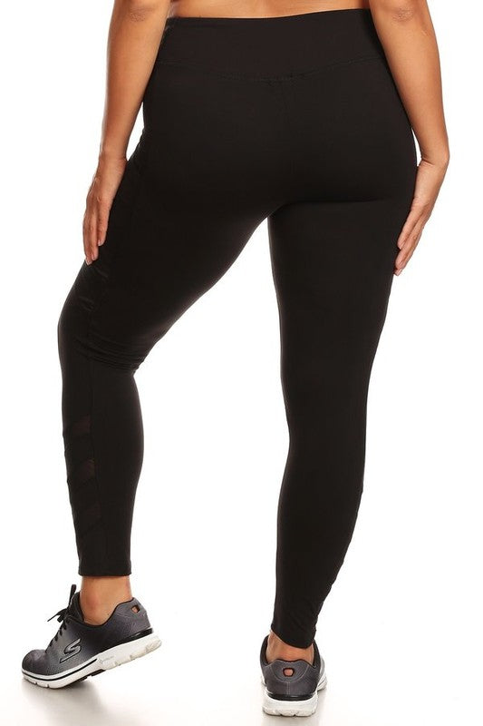 Women's Athletic Leggings with Mesh and Stripes - Plus Size