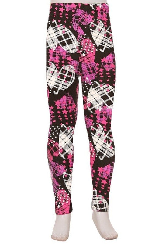 Glitter Plaid Hearts - Girls Leggings