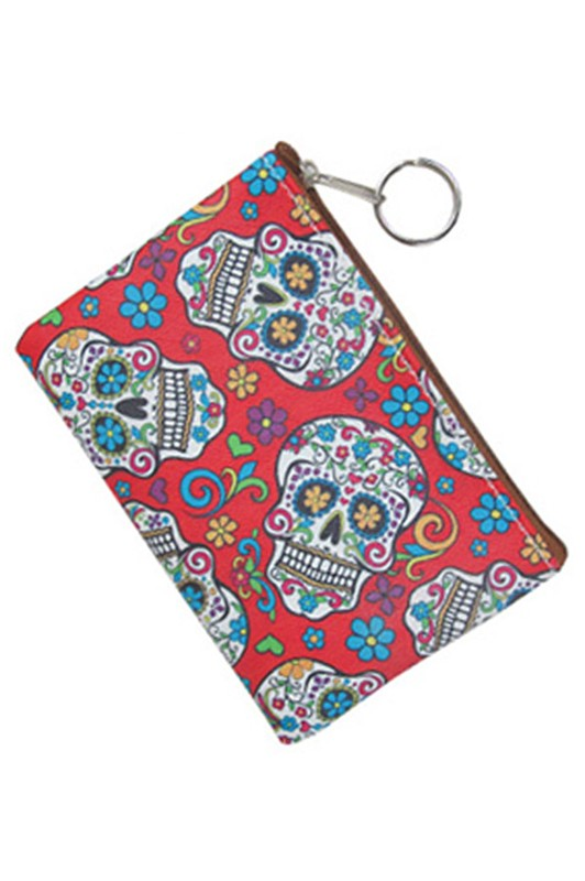Sugar Skull Printed Coin Purse