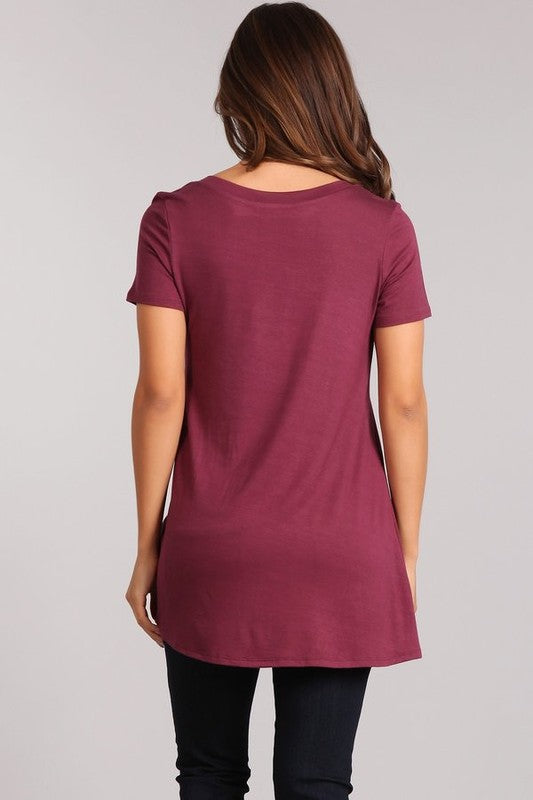 Dog Mom Life is Ruff - Women's Plus Size Tunic in Burgundy