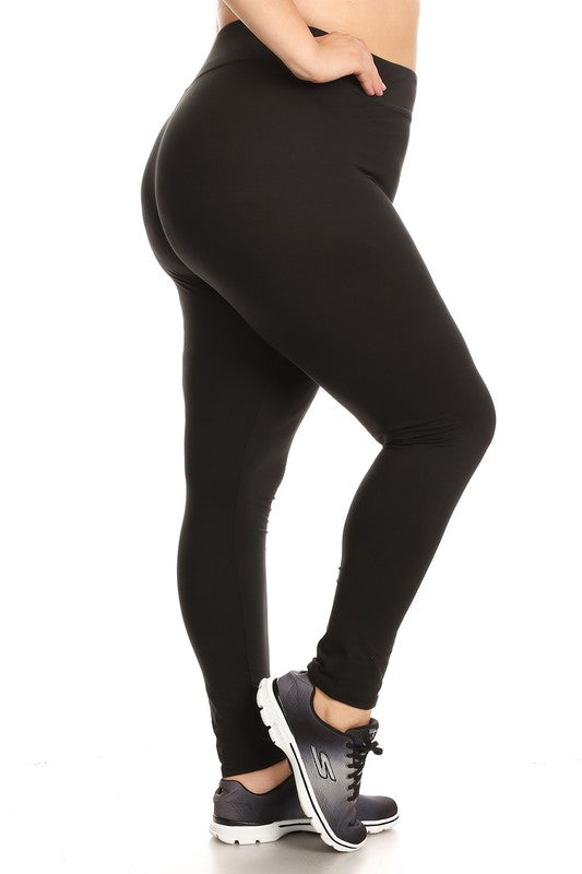 Women's Solid Fleece Sports Plus Size Leggings in Black