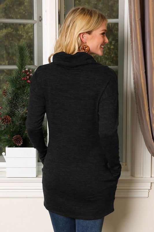 The Dawn - Women's Plus Size Cowl Neck Tunic in Charcoal