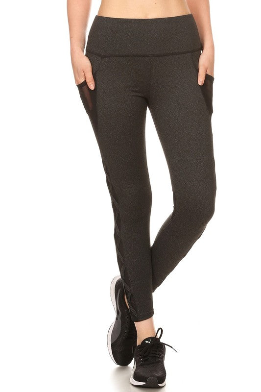 Women's Athletic Leggings with Mesh and Cross Cutouts in Charcoal