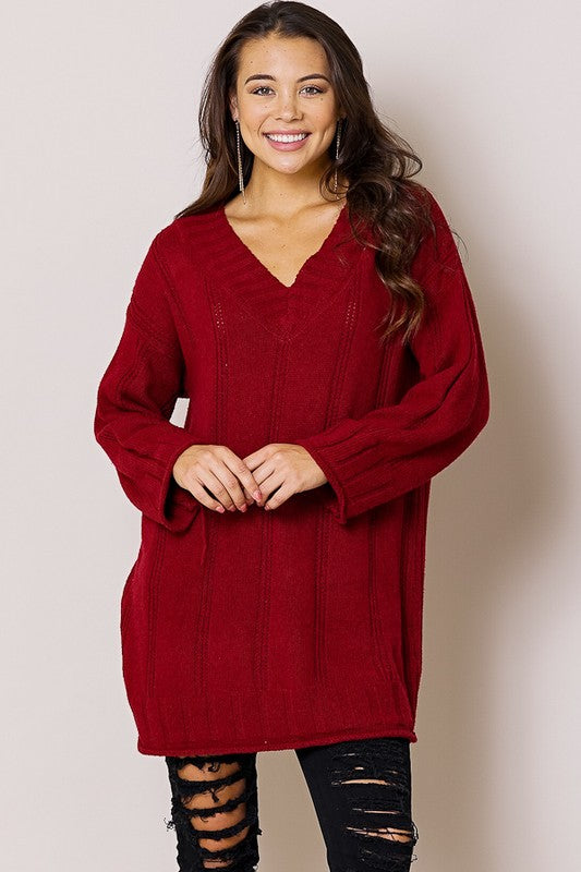 The Gina - Women's Sweater in Wine