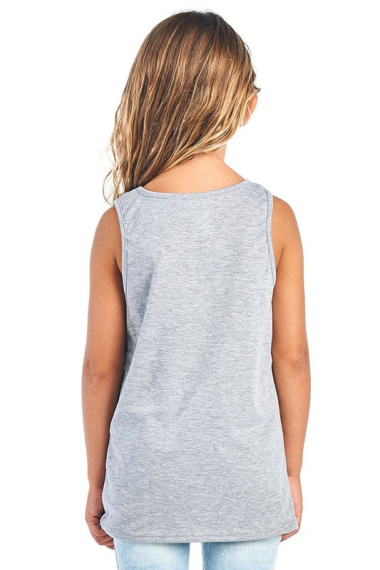 Meet Me Under the Fireworks - Girls Tank Top in Heather Gray