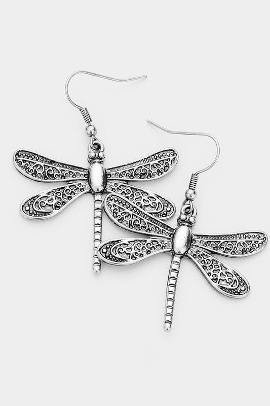 Verdigris Floral Motif Dragonfly Earrings