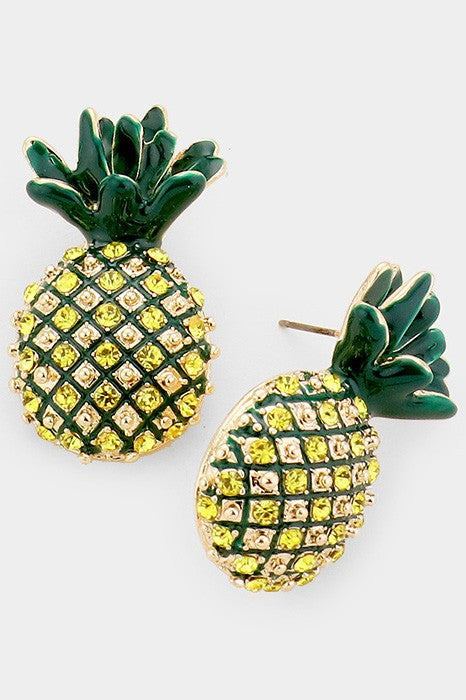 Crystal Enamel Pineapple Stud Earrings