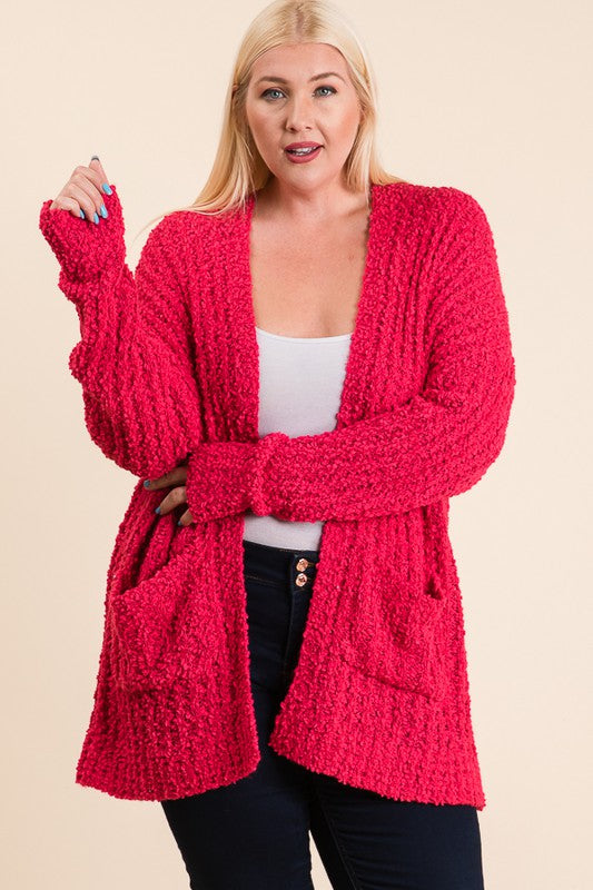 The Jessie - Women's Plus Size Cardigan in Fuchsia