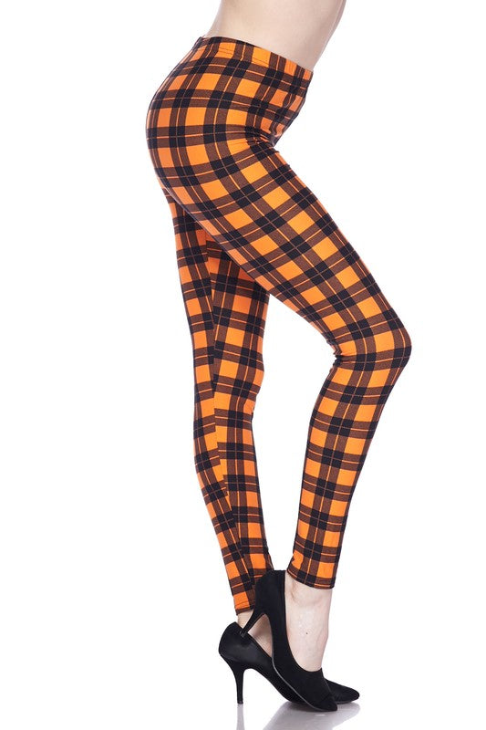 Pumpkin Plaid - Women's Plus Size Leggings