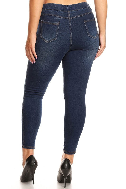 Navy Blue Distressed Jeggings - Women's Plus Size