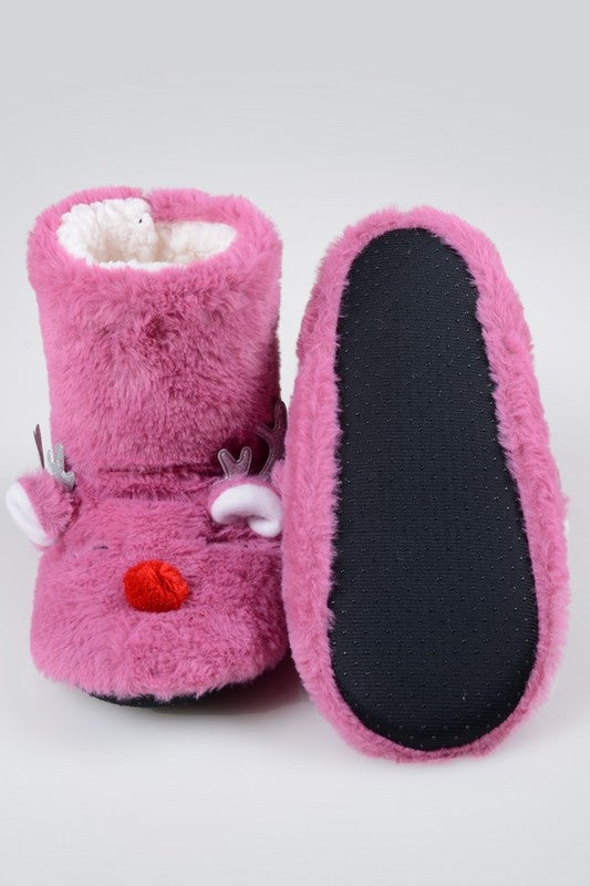 Furry Reindeer Slipper Booties
