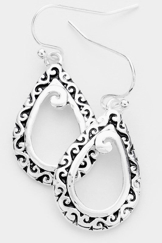 Embossed Teardrop Antique Style Earrings