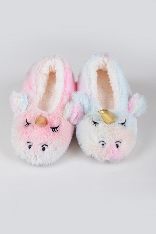 Fuzzy Unicorn Rainbow Dyed Slippers
