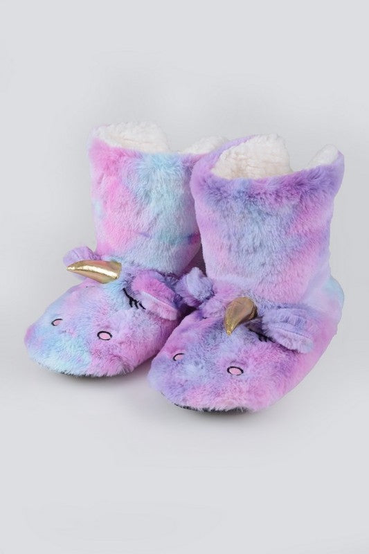Fuzzy Unicorn Rainbow Dyed Slipper Booties