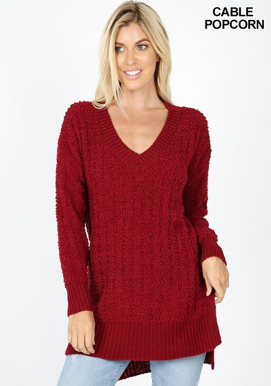 The Hannah - Women's Plus Size Sweater in Cabernet