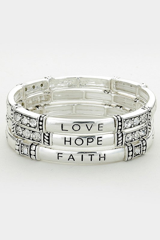 Silver Love, Hope & Faith Stretch Bracelet Set