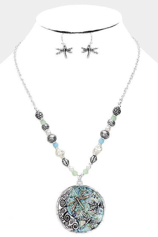 Abalone Stone Dragonfly Multi Beaded Necklace & Earring Set