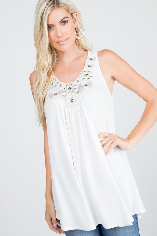The Cicely - Women's Plus Size Beaded Tank Top in Ivory