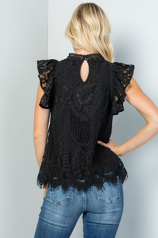 The Rosemarie - Women's Lace Plus Size Top in Black