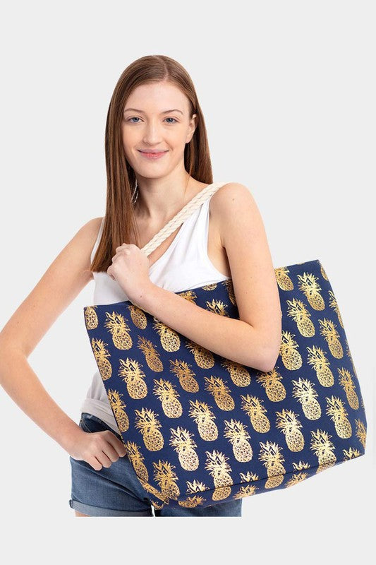 Navy Blue Metallic Pineapple Beach Bag