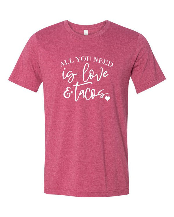 All You Need is Love and Tacos - Women's Plus Size Top in Raspberry