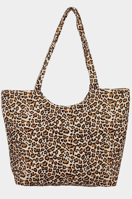 Brown Leopard Print Jute Tote Bag