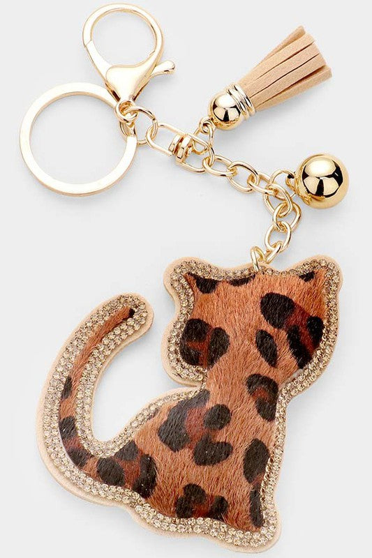 Puffy Leopard Cat Key Chain with Tassel Trim