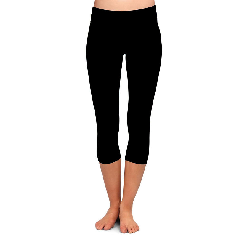 Solid Black Premium Capris with Yoga Band - Women's One Size