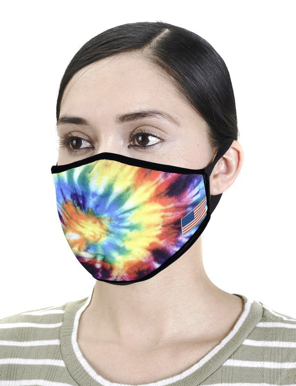 Multi-Color Tie Dye Mask with American Flag