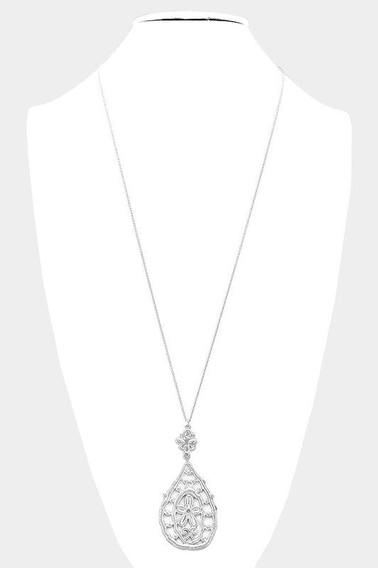 Long Floral Accented Metal Necklace in Silver