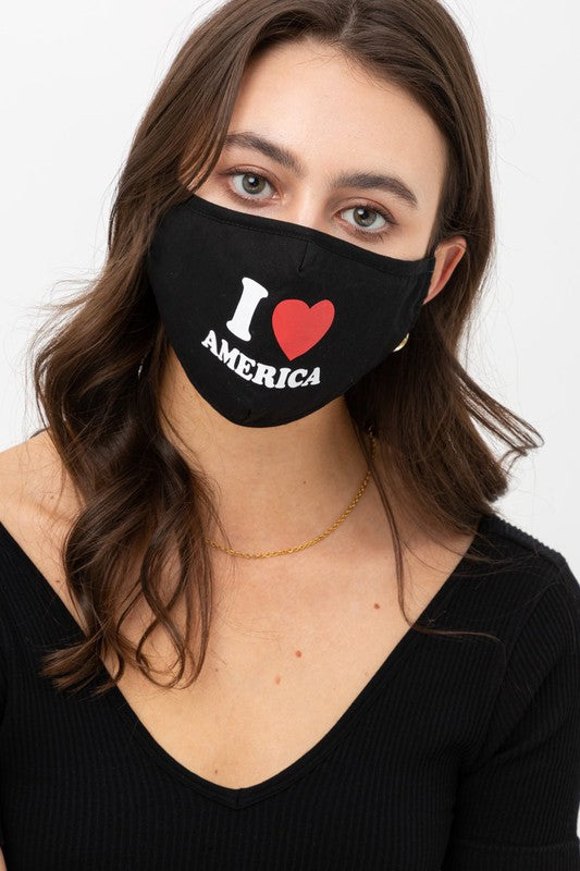 I Love America Heart Print Mask - Adjustable