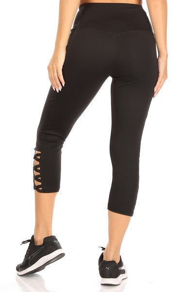 Athletic Capris with Criss Cross Ladder Straps in Black -  Women's