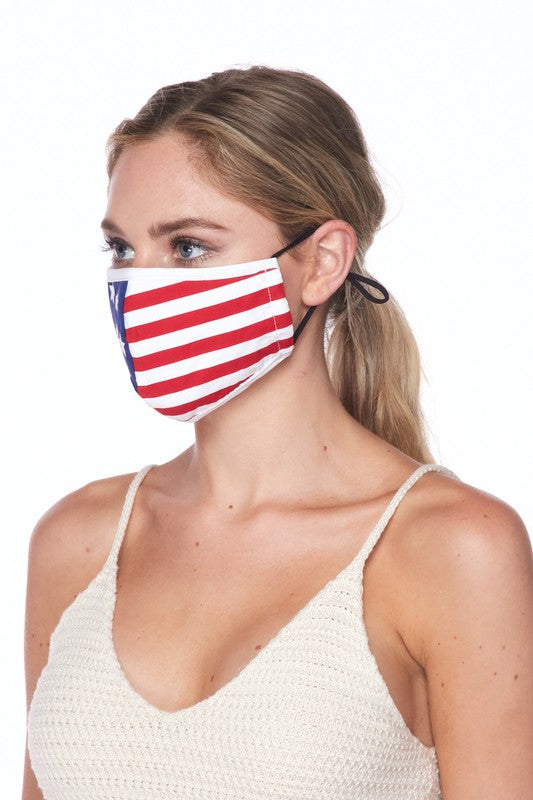 American Flag Printed Face Mask - Adjustable