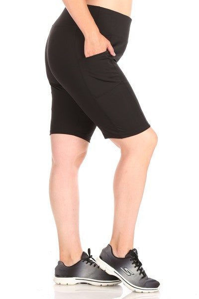 Athletic Shorts with Pockets in Black - Women's Plus Size