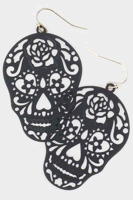 Sugar Skull Metal Filigree Earrings