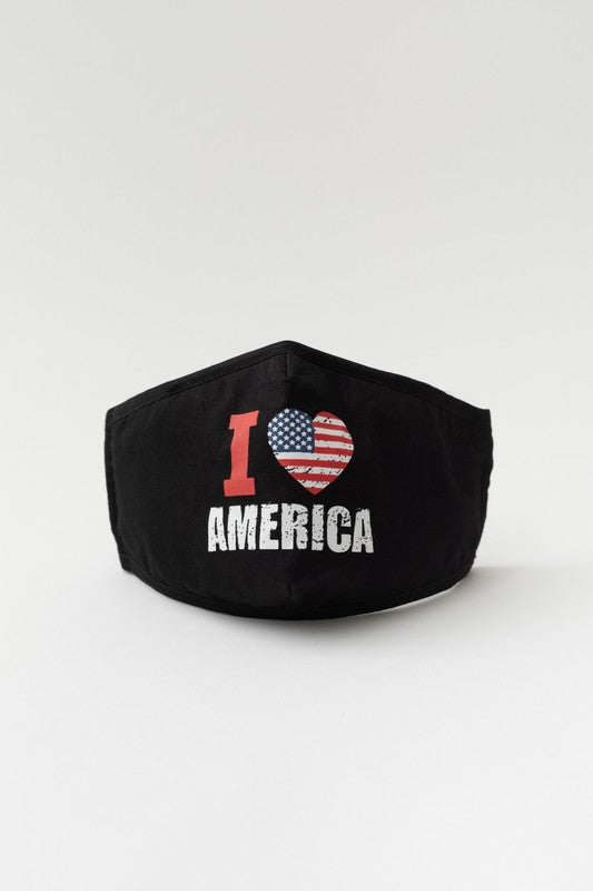 I Love America Distressed Print Mask - Adjustable